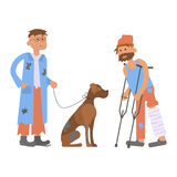 有无家可归的狗的流浪者人 向量例证