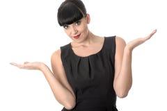 有无忧无虑的态度的可爱的年轻女商人 免版税图库摄影