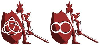 有无限和triquetra的标志的风格化中世纪骑士 免版税库存图片