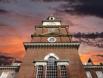 有日出天空的美国独立纪念馆 免版税库存图片