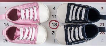 有日历的小的童鞋 免版税库存照片