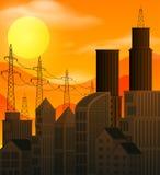 有日落场面的一个大城市 免版税库存图片