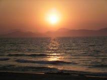 有日落的海 免版税库存图片
