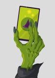 有时尚巧妙的电话的现代皮包骨头的巫婆手,传染媒介例证 库存图片