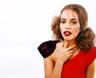 有时尚样式构成的年轻俏丽的妇女,链子喜欢gussar 免版税图库摄影
