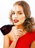 有时尚样式构成的年轻俏丽的妇女,链子喜欢gussar 免版税库存照片