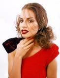 有时尚样式构成的年轻俏丽的妇女,链子喜欢gussar 库存照片