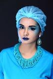 有时尚的美丽的亚裔耐心妇女组成,蓝色口气ac 图库摄影