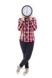有时钟在白色隔绝的覆盖物面孔的十几岁的女孩 免版税图库摄影