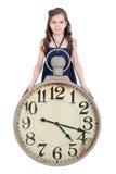 有时钟的女孩 免版税库存图片