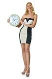 有时钟的妇女 免版税图库摄影