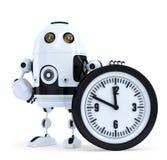 有时钟的机器人 概念查出的技术白色 包含裁减路线 图库摄影