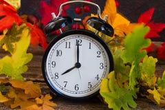 有时钟的秋天定期的秋天叶子 免版税库存照片