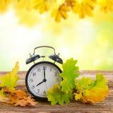 有时钟的秋天定期的秋天叶子 库存照片