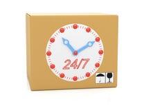 有时钟表盘的纸板箱 库存图片