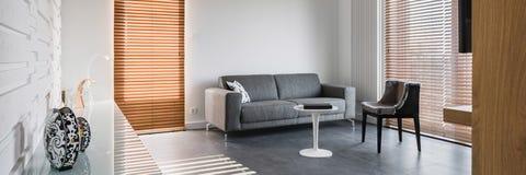 有时髦的家具的宽敞客厅 免版税库存照片