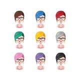 有时髦的短发的- 9种不同头发颜色女孩 库存照片