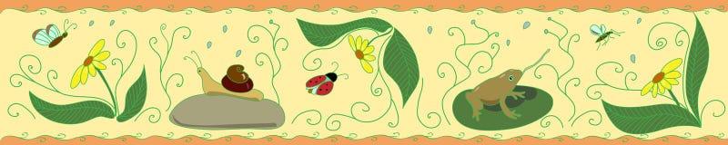 有昆虫的带状装饰在黄色背景 免版税库存照片