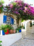 有明亮的九重葛的传统街道在希腊 免版税图库摄影