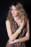 有明亮的构成和平衡的欢乐发型美丽的性感的快乐的妇女在豹子印刷品在一黑backgroun的晚礼服 免版税库存图片