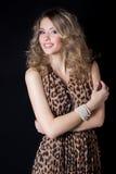 有明亮的构成和平衡的欢乐发型美丽的性感的快乐的妇女在豹子印刷品在一黑backgroun的晚礼服 库存图片