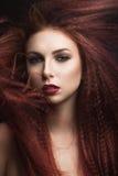 有明亮的构成的美丽的女孩和有风的伯根地嘴唇在头发 秀丽表面 免版税库存照片