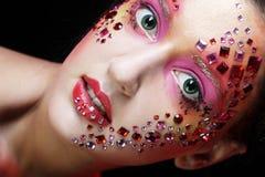 有明亮的艺术性的构成的妇女 免版税库存图片