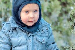 有明亮的蓝眼睛的逗人喜爱的白种人liittle男孩在冬季衣服和帽子敞篷在蓝色杉木和冷杉背景 健康childho 免版税库存照片