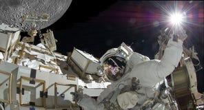 有明亮的轻的综合图象的浮动宇航员美国航空航天局有些元素礼貌  图库摄影