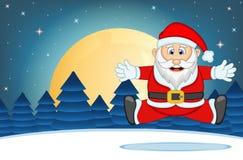有星、天空和雪小山背景传染媒介例证的圣诞老人 免版税库存照片