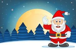 有星、天空和雪小山背景传染媒介例证的圣诞老人 图库摄影