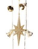 有星和响铃的圣诞节金黄诗歌选。 免版税库存图片