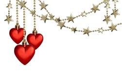 有星和红色心脏装饰的圣诞节诗歌选 图库摄影