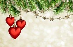 有星的圣诞节诗歌选和在holid的红色心脏装饰 库存图片