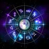 有星的神秘的黄道带轮子签到霓虹样式 皇族释放例证