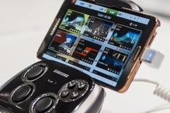 有星系笔记的3,流动世界国会三星S控制台2014年 库存照片