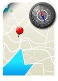 有映射的黑色指南针 免版税库存图片