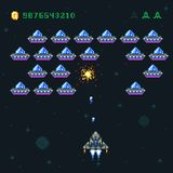 有映象点侵略者和太空飞船的减速火箭的娱乐游戏屏幕 间隔战争计算机8位老向量图形 皇族释放例证