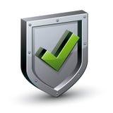 有是壁虱标志的安全盾 库存图片