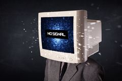 有显示器头的,在显示的没有信号标志人 免版税库存图片