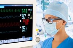 有显示器的女性医生在重症监护病房 库存照片