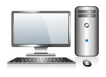 有显示器键盘和老鼠的银色计算机 免版税库存图片
