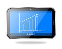 显示企业成长曲线图的片剂个人计算机 免版税库存照片