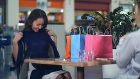 有显示新的衣裳的购物袋的愉快的少妇对她的朋友 库存照片
