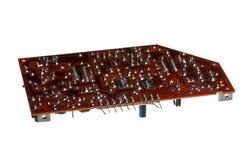 有晶体管和其他equipm的电子概要管amp 免版税库存图片