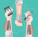 有智能手机和巧妙的手表的机器人胳膊 向量例证