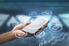 有智能手机和接口的手 库存例证