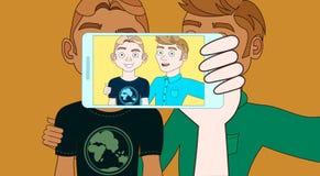 有智能手机的手采取两个年轻人Selfie  皇族释放例证