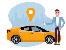 有智能手机身分的帅哥在黄色汽车附近 使用流动应用程序的租汽车 网上汽车共用模式概念 在背景的车 库存例证