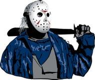 有曲棍球面具的贾森 免版税库存照片